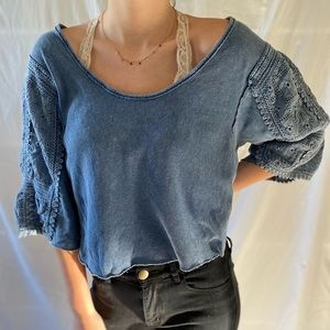 """Cropped boho """"We the Free"""" top"""